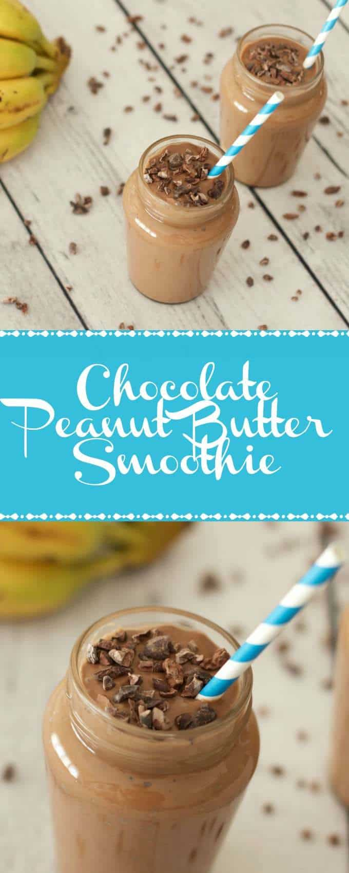 Chocolate Peanut Butter Smoothie (Vegan and Gluten-Free). Perfect for breakfast! #vegan #dairy-free #gluten-free #smoothies #lovingitvegan