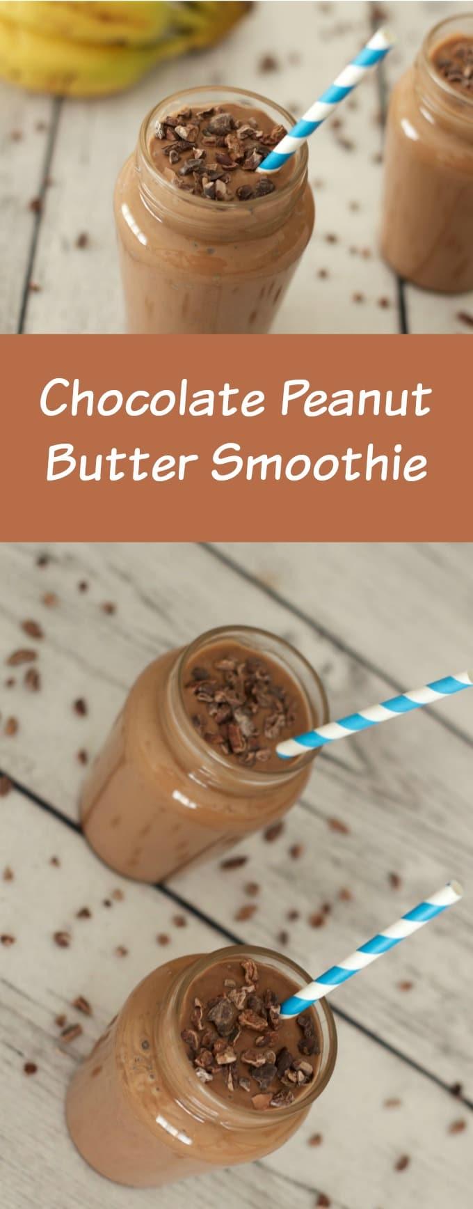 Chocolate Peanut Butter Smoothie - ideal as an anytime snack or a breakfast power shake! #vegan #smoothie #dairy-free #gluten-free #lovingitvegan