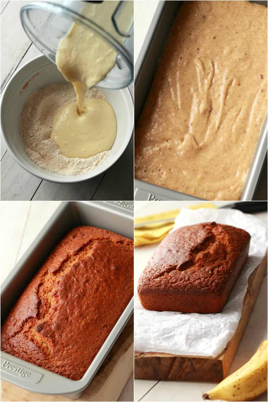 Step by step process photo collage of making vegan banana bread.