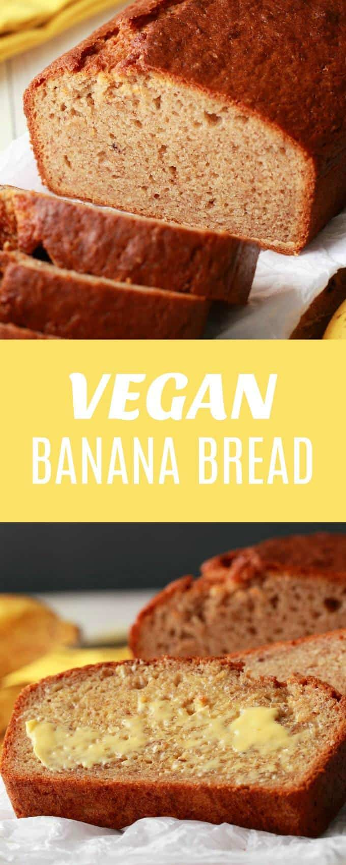 Simple Vegan Banana Bread - crispy on the outside, moist on the inside and delicious served warm from the oven with vegan butter! | lovingitvegan.com