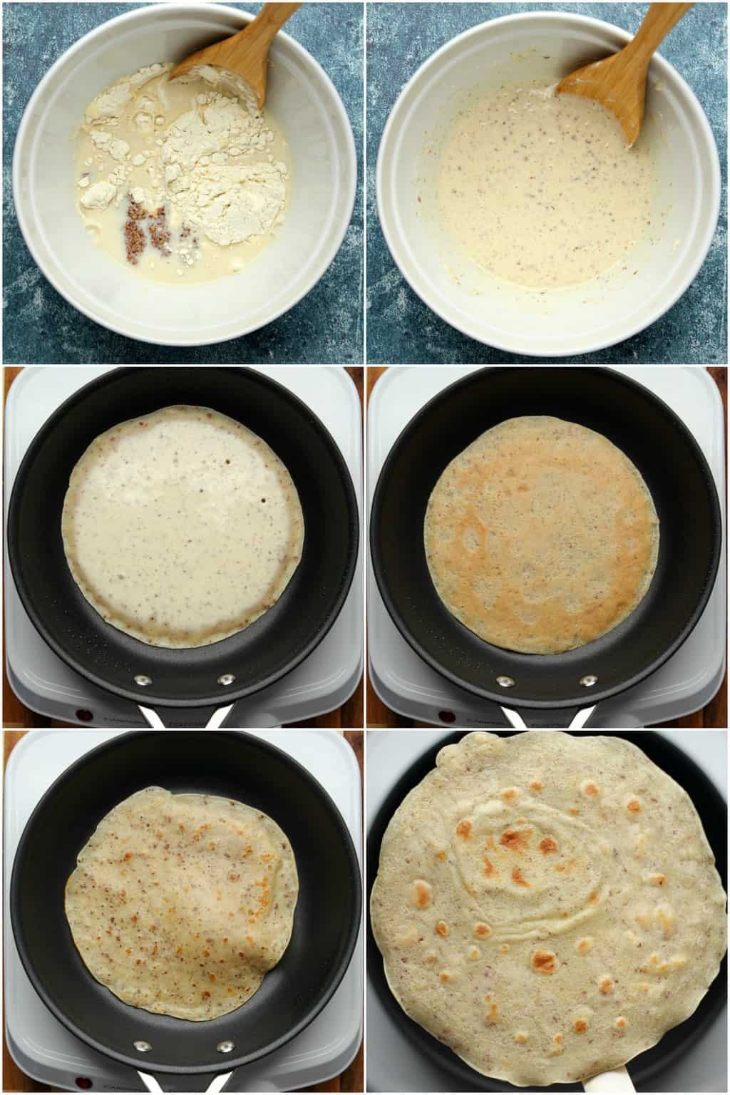 Step by step process photo collage of making vegan crepes.
