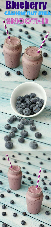 Blueberry Smoothie with Cashew Nut Milk and Bananas, creamy, double thick, nutritious and satisfying. #vegan #smoothie #lovingitvegan