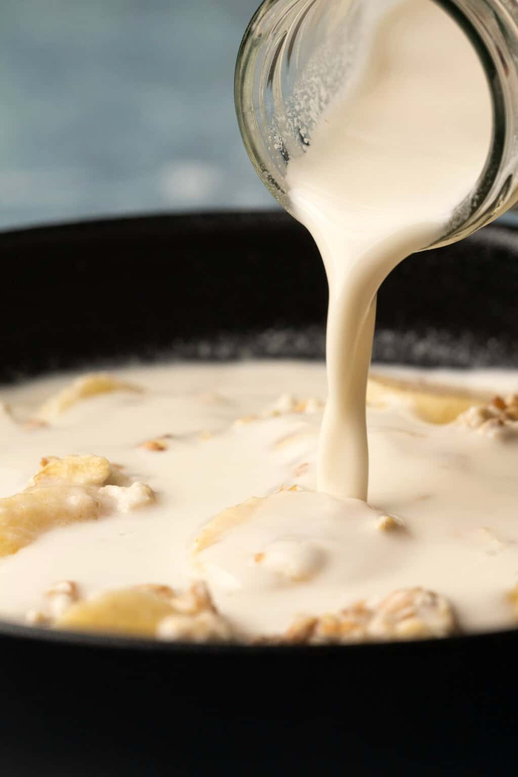 Cashew milk pouring over cereal and fruit.