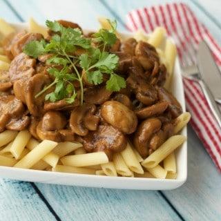 Tahini Mushroom Sauce over Penne