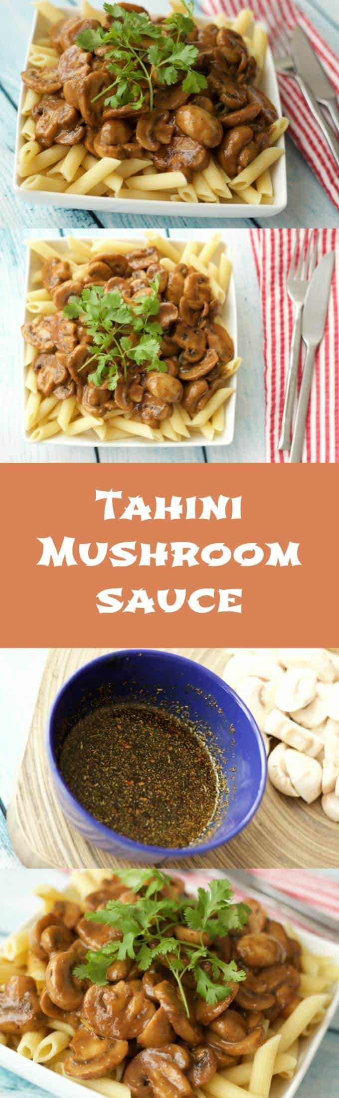 Rich and Creamy Tahini Mushroom Sauce over Penne #vegan #lovingitvegan