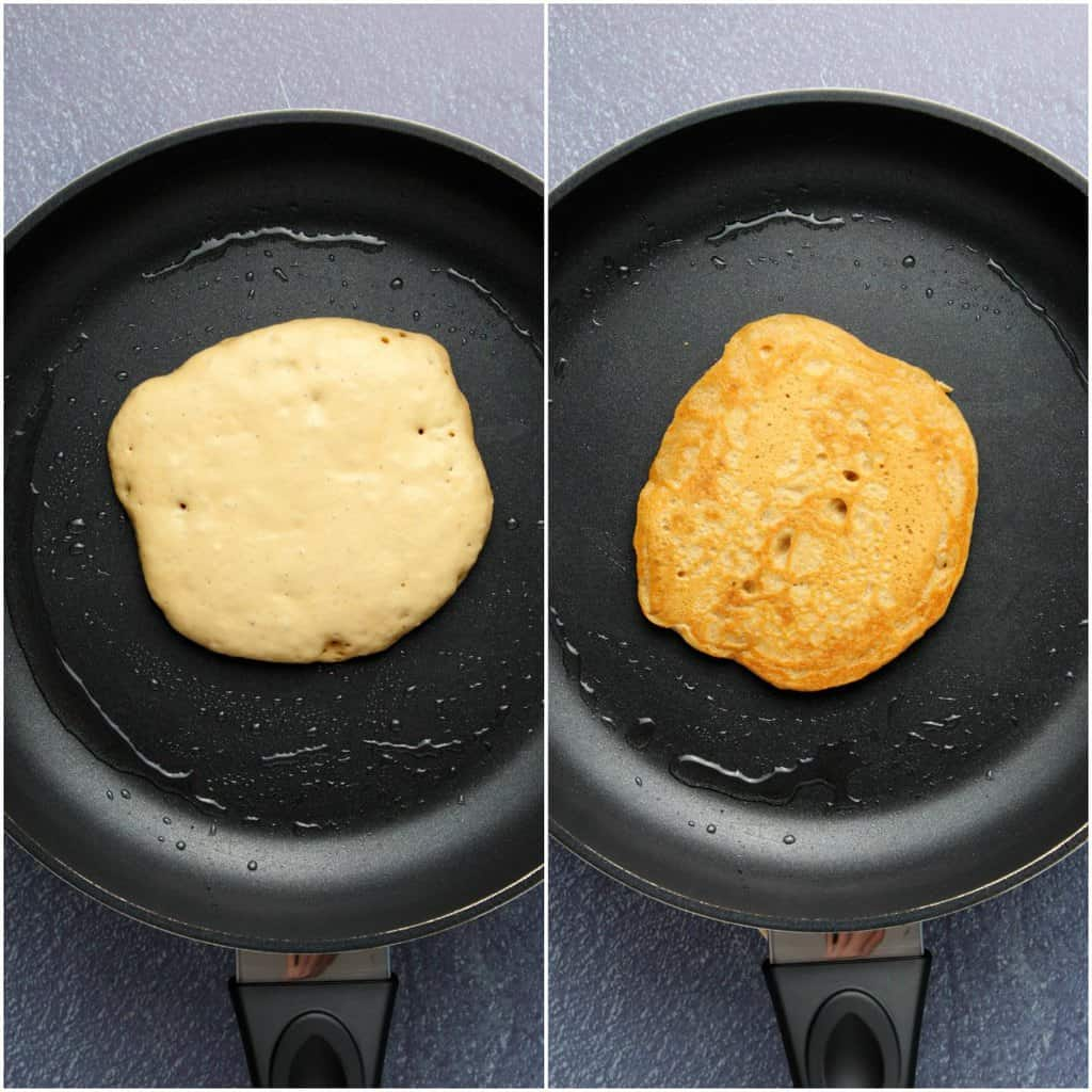 Process photos of making vegan coconut pancakes.