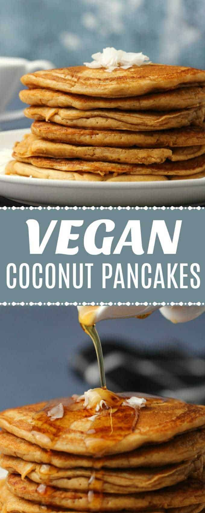 Deliciously simple vegan coconut pancakes, light and fluffy and perfect for breakfast topped with coconut flakes and maple syrup.| lovingitvegan.com