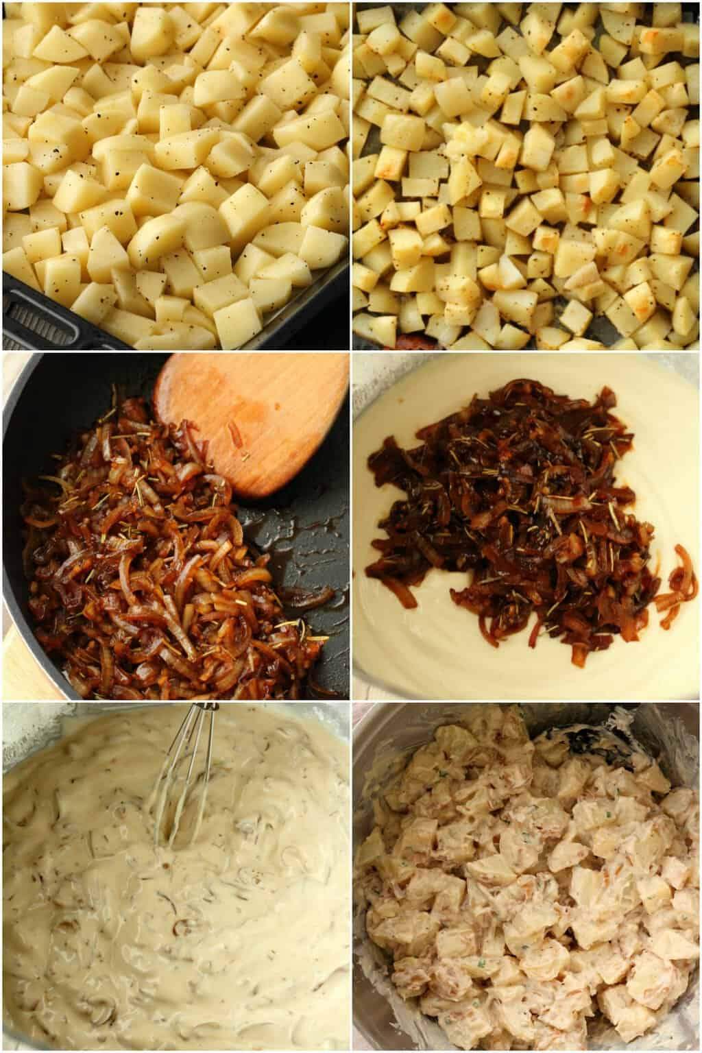 Step by step process photo collage of making vegan potato salad