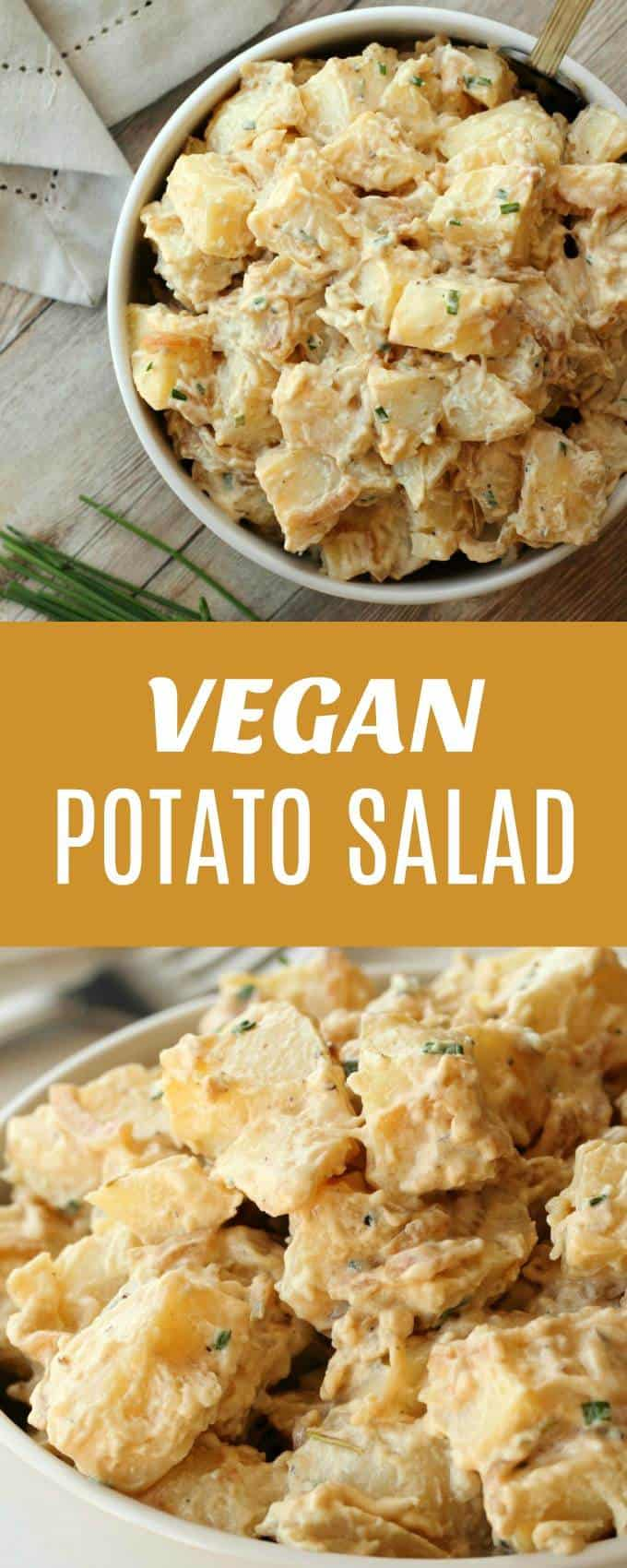Creamy tangy and satisfying vegan potato salad. This vegan take on a classic dish will make you very popular at the next BBQ! And no one will know it's vegan unless you tell them! | lovingitvegan.com