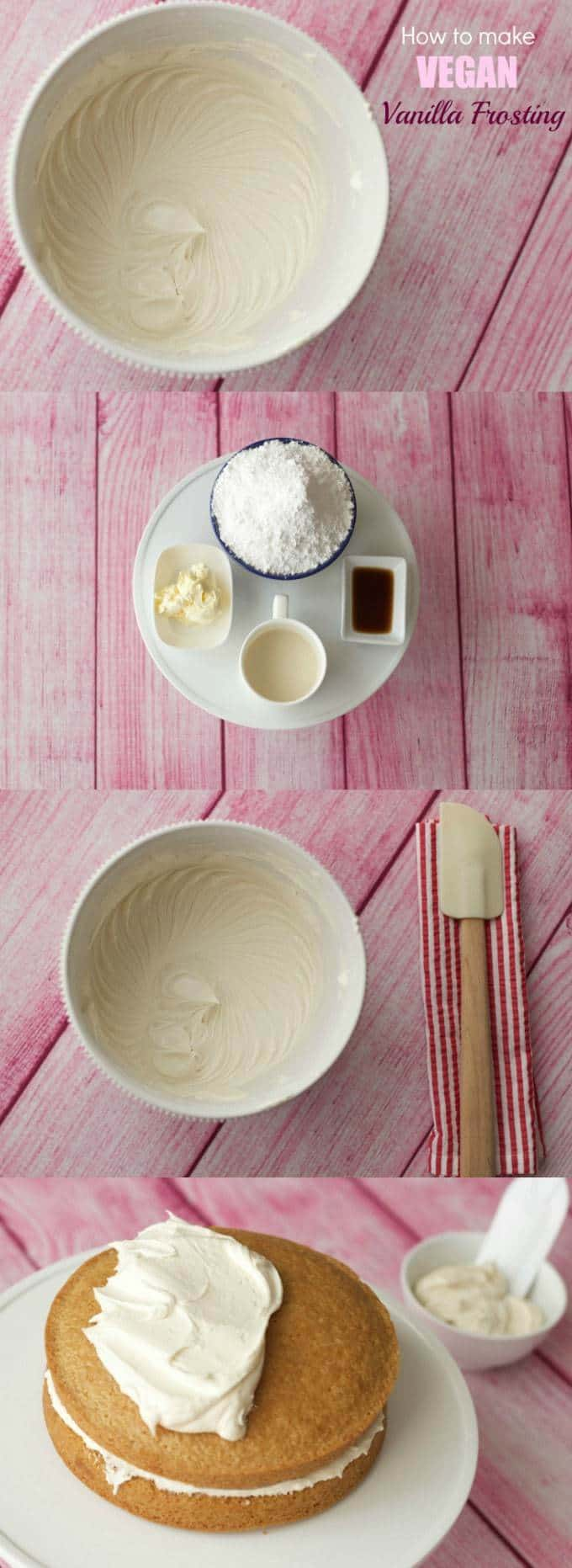 This vegan vanilla frosting is smooth, creamy and delicious! Easy 4-ingredient recipe, ideal for use on cakes, cupcakes and cookies! | lovingitvegan.com