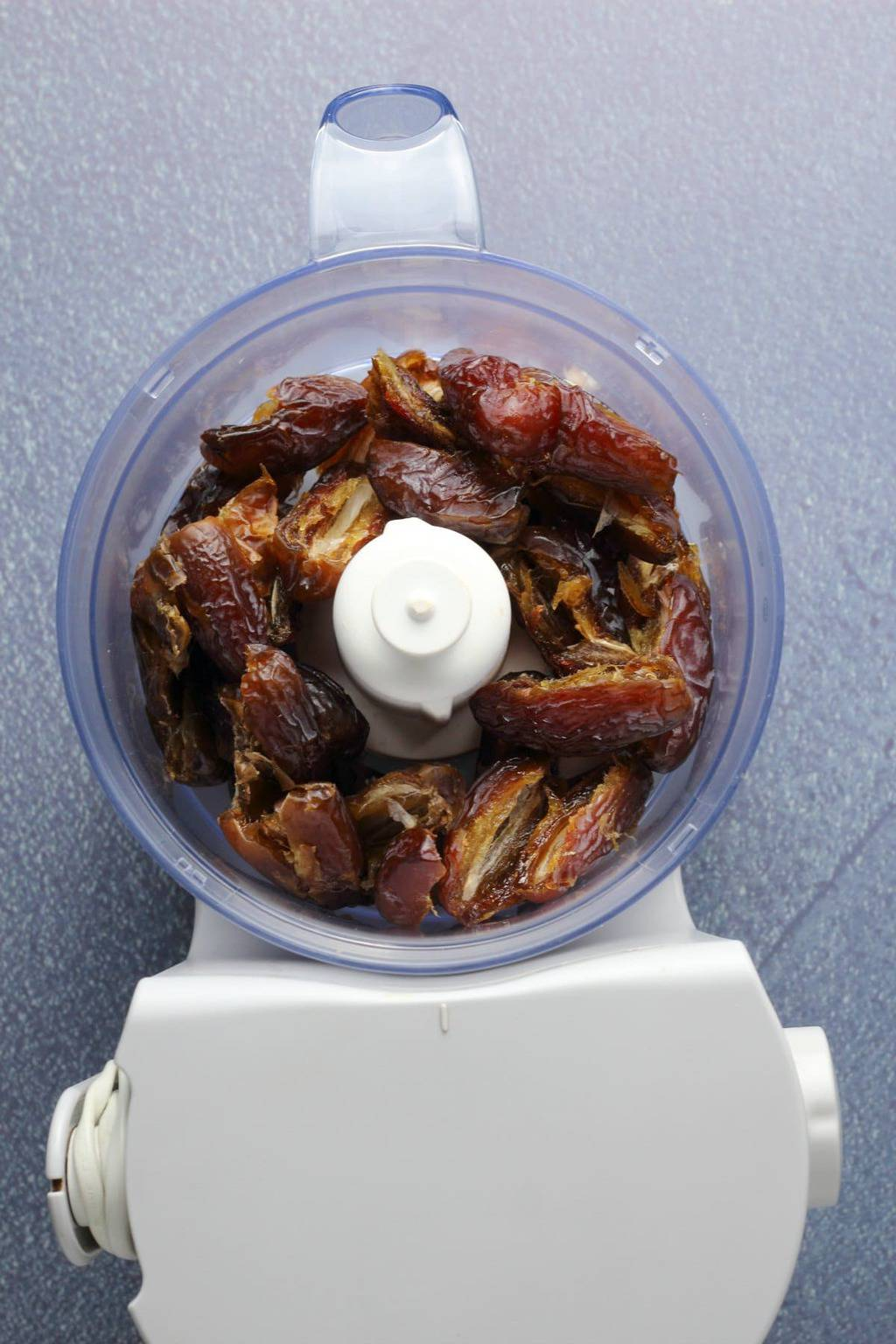 Dates in a food processor.