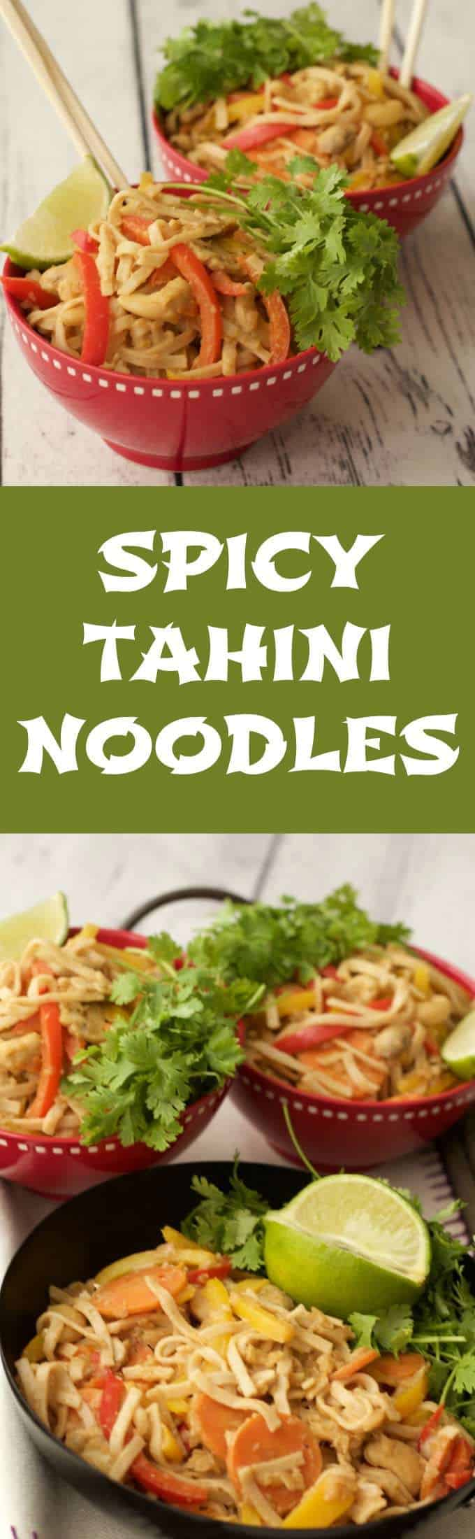 Easy #vegan noodles with a mildly spicy tahini sauce #lovingitvegan