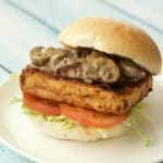 Marinated Tofu Burger with Creamy Mushroom Sauce
