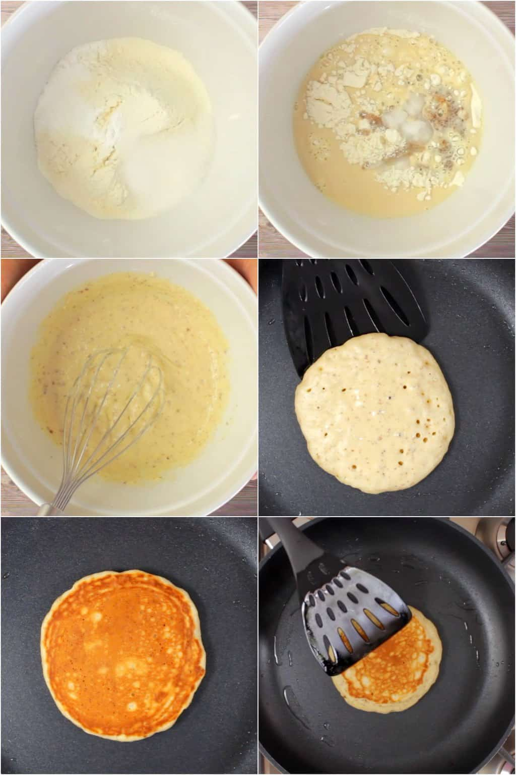 Step by step process photo collage of making vegan pancakes.