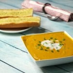 Roasted Butternut Green Curry Soup with Garlic Bread
