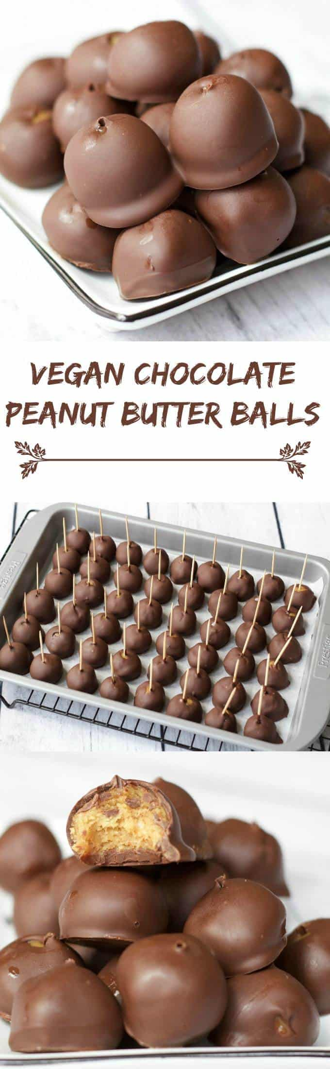 Chocolate Peanut Butter Balls $vegan #glutenfree #dairyfree #lovingitvegan
