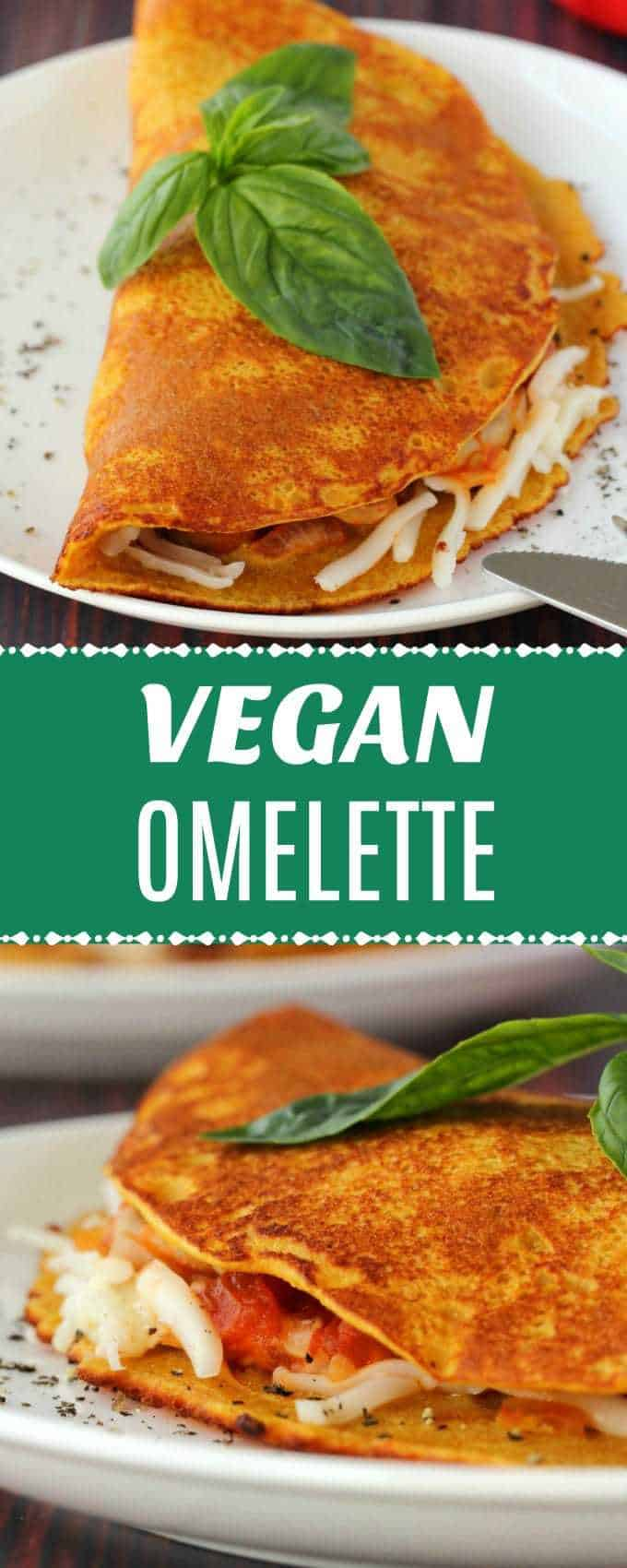 Light and fluffy vegan omelette served with sautéed mushrooms, tomatoes, onion, vegan cheese and vegan sausage for a fabulous vegan breakfast of champions. | lovingitvegan.com