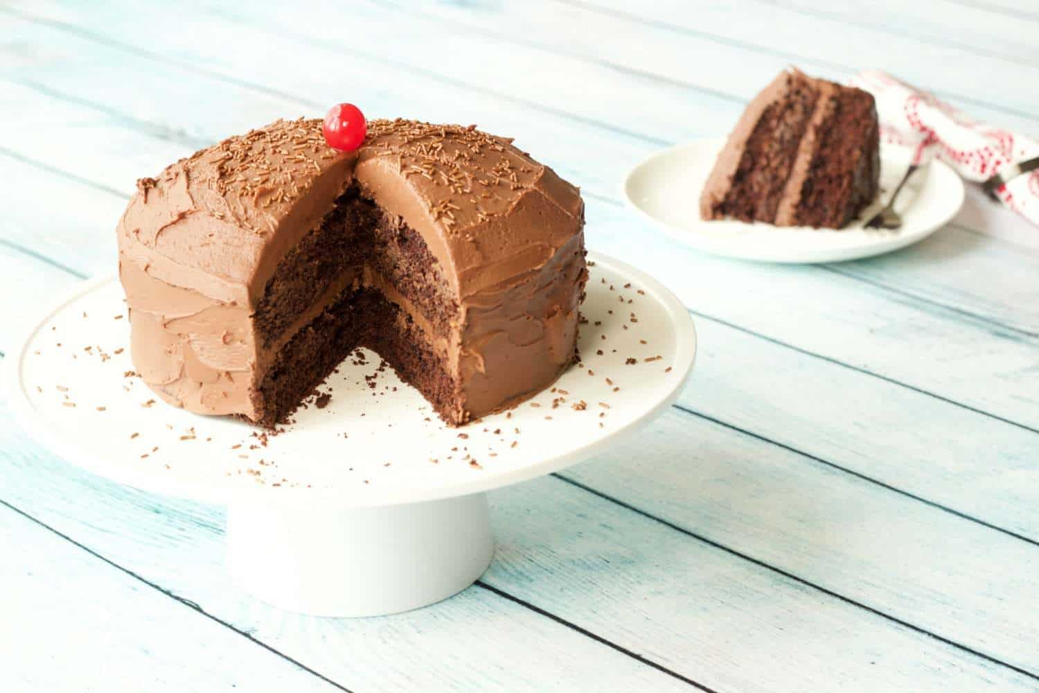 Gluten-Free Chocolate Cake with Vegan Chocolate Ganache Frosting #vegan #lovingitvegan #glutenfree #dairyfree #dessert #cake