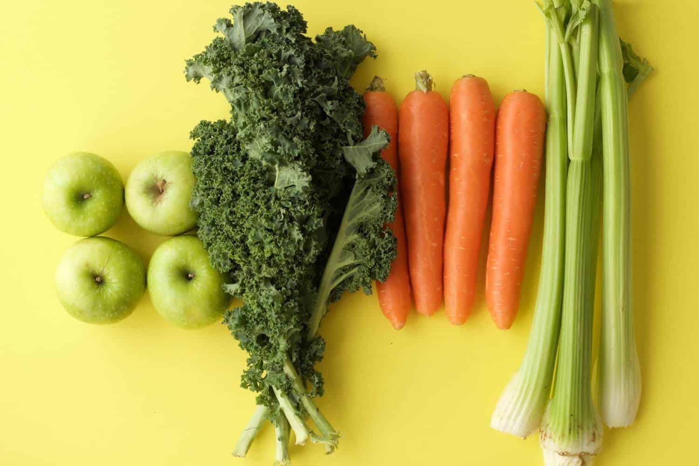 Ingredients for Apple Carrot Celery and Kale Juice #lovingitvegan