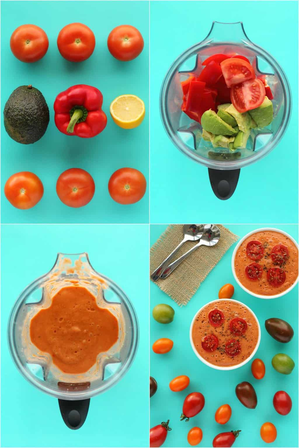 Step by step process photo collage of making a raw tomato soup.