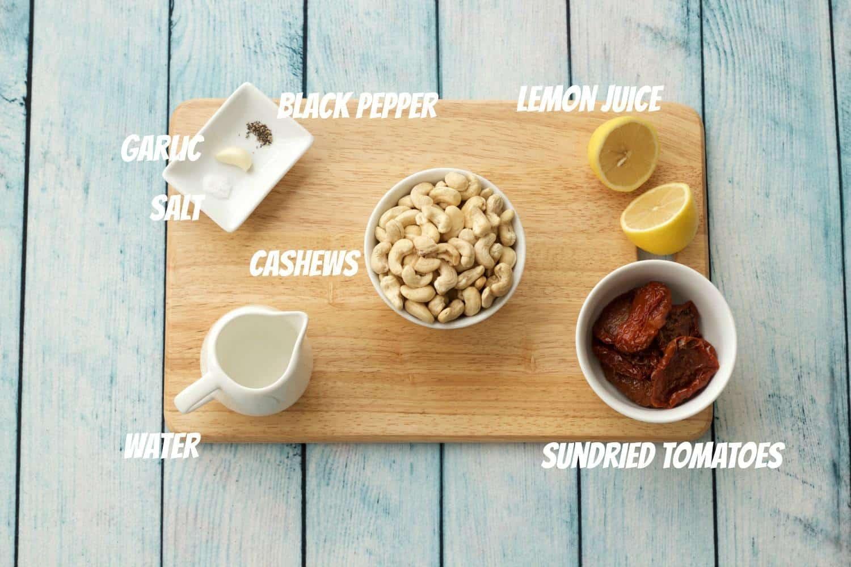 Ingredients for Sundried Tomato Cashew Cheese #vegan #lovingitvegan