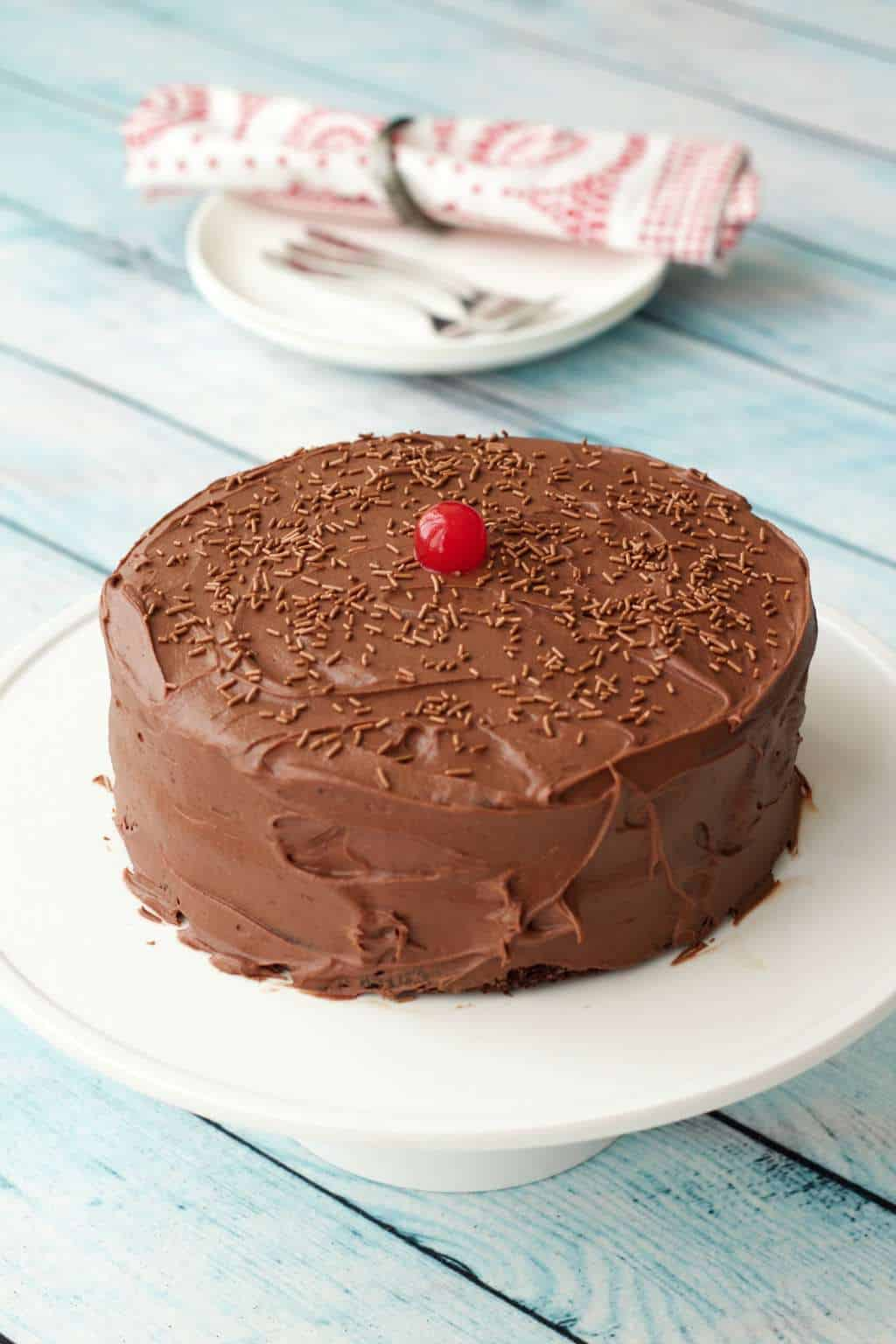 Chocolate cake with chocolate frosting on a white cake stand.