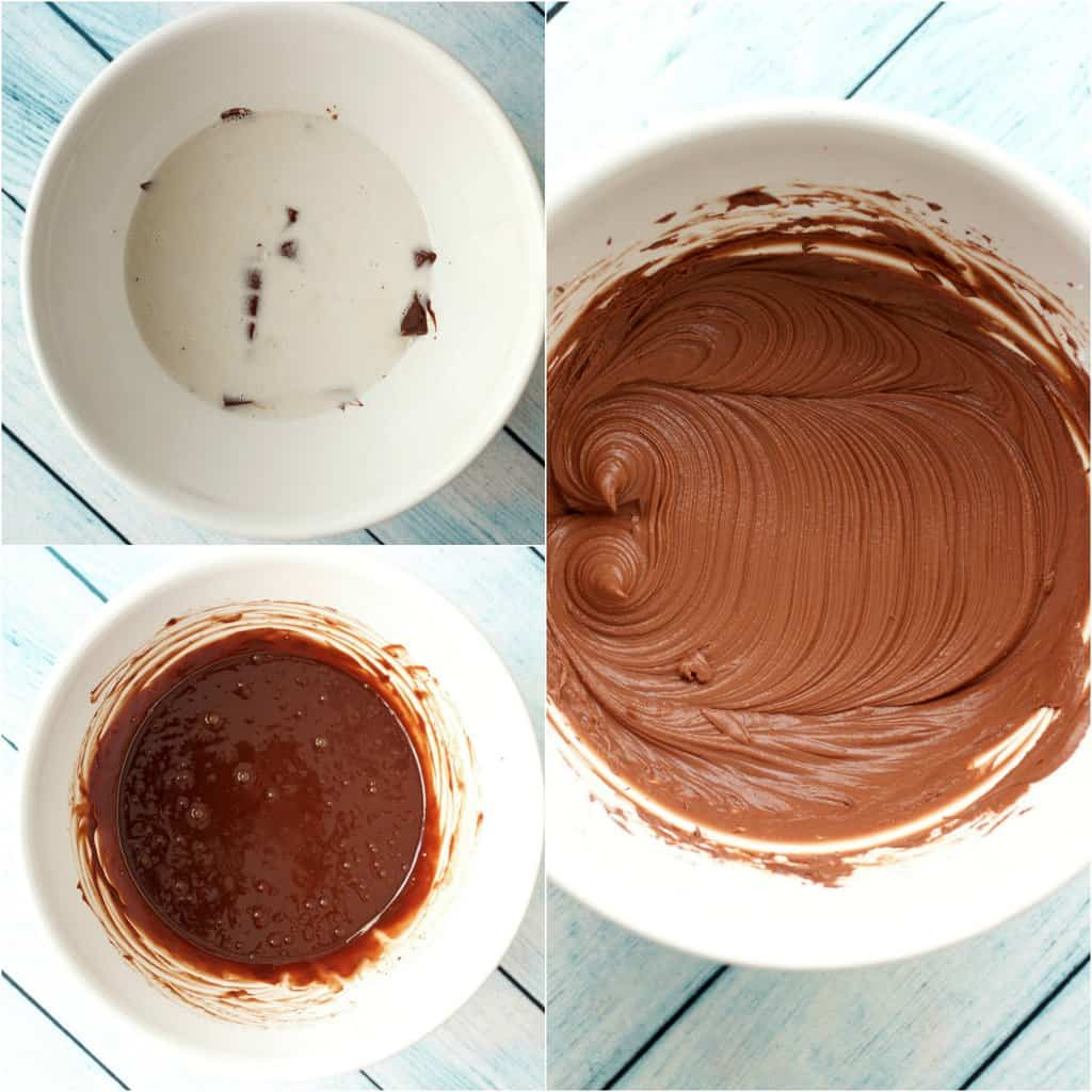 Step by step process photo collage of making vegan chocolate ganache frosting