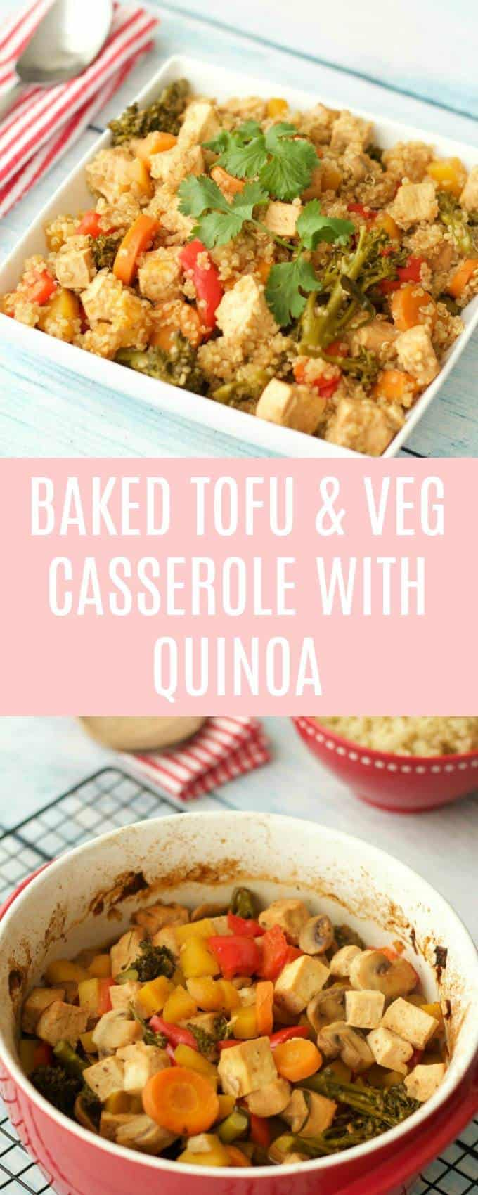 I love dinner meals that you can throw together pretty easily but still taste great.This baked tofu and vegetable casserole with quinoa is definitely that.Vegan | Vegan Dinner | Vegan Entree | Gluten Free | #vegan #vegandinner #glutenfree #entree | lovingitvegan.com