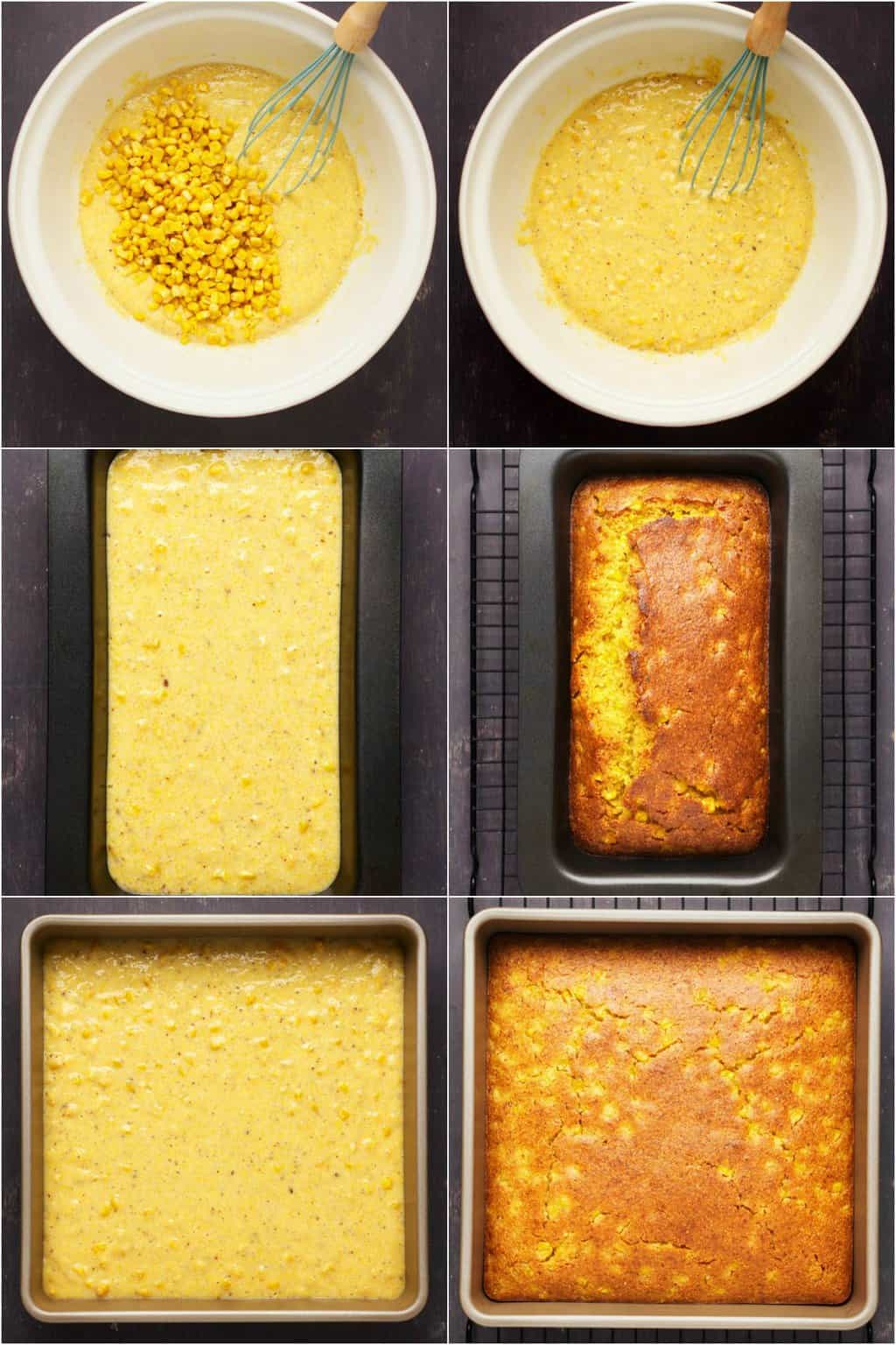 Step by step process photo collage of making vegan cornbread.