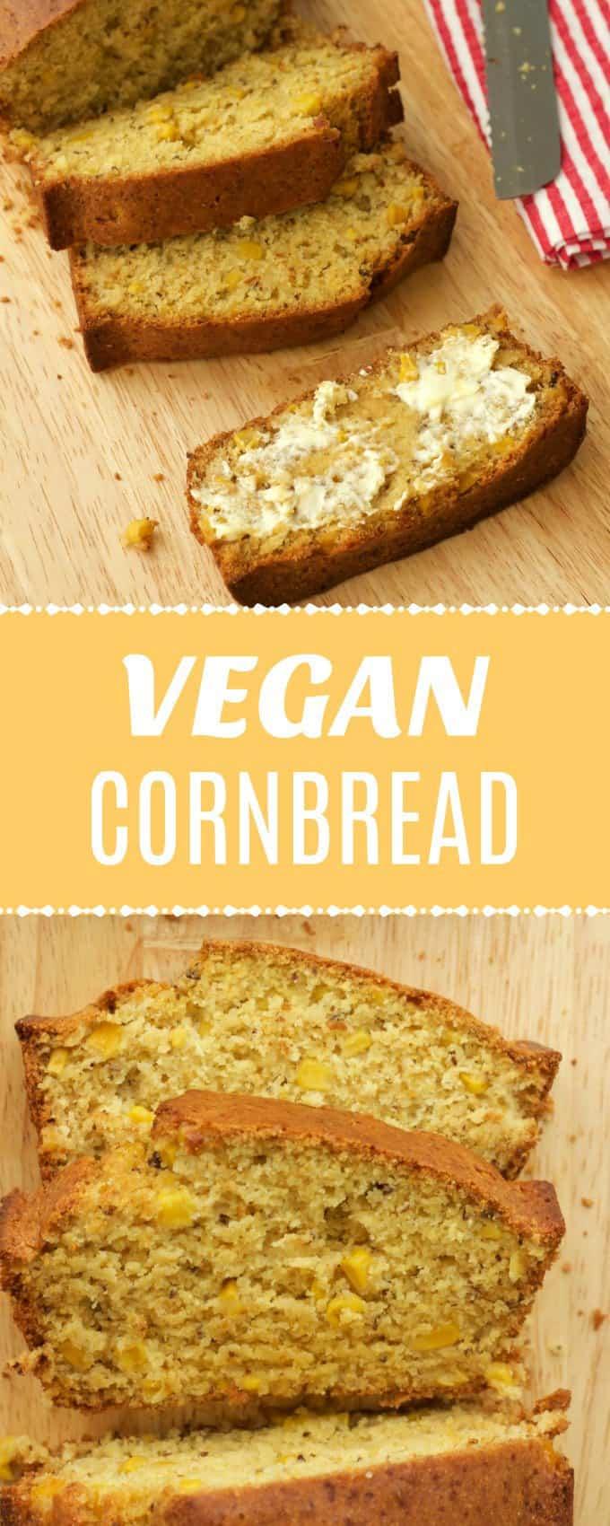 Perfectly sweet vegan cornbread with whole corn kernels. Wonderfully moist and tender and makes the perfect side dish.Ideal comfort food!  lovingitvegan.com