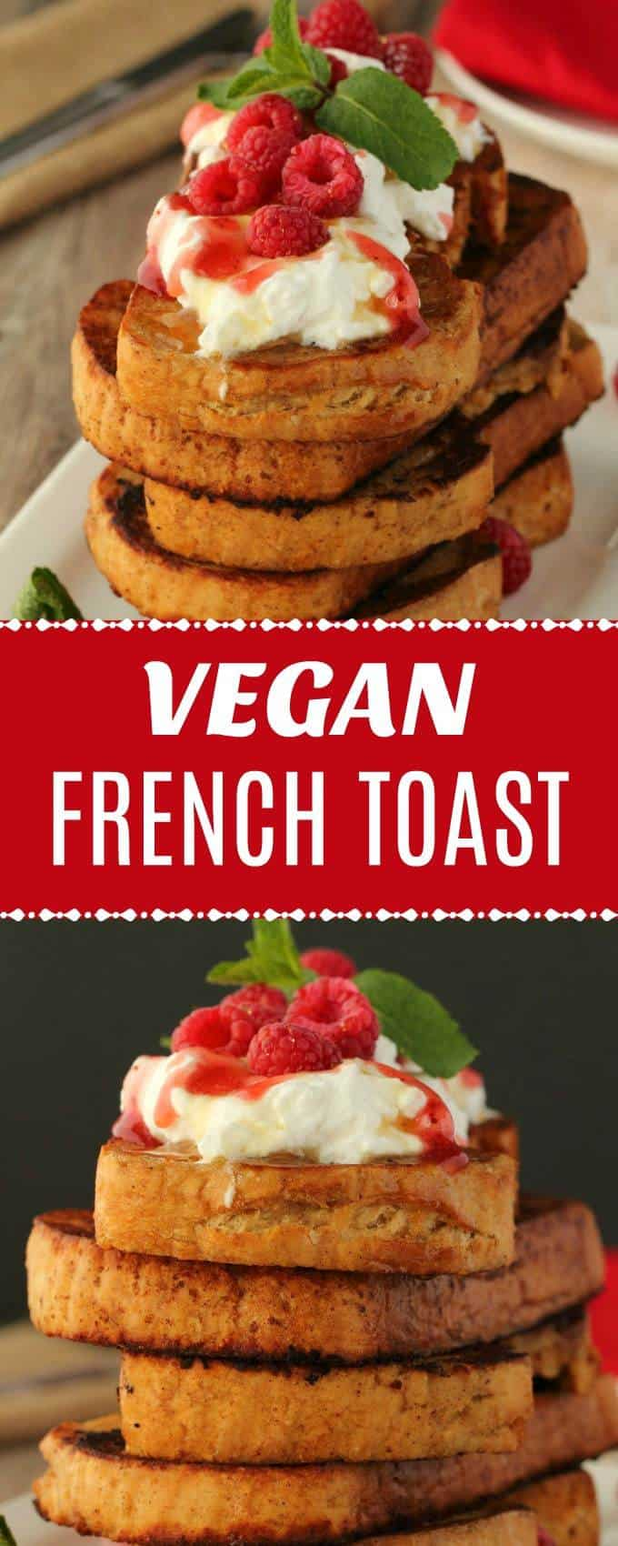 Vegan french toast recipe that is crispy on the outside, soft on the inside and makes a perfect breakfast served as is or with syrup or jam and vegan cream! | lovingitvegan.com