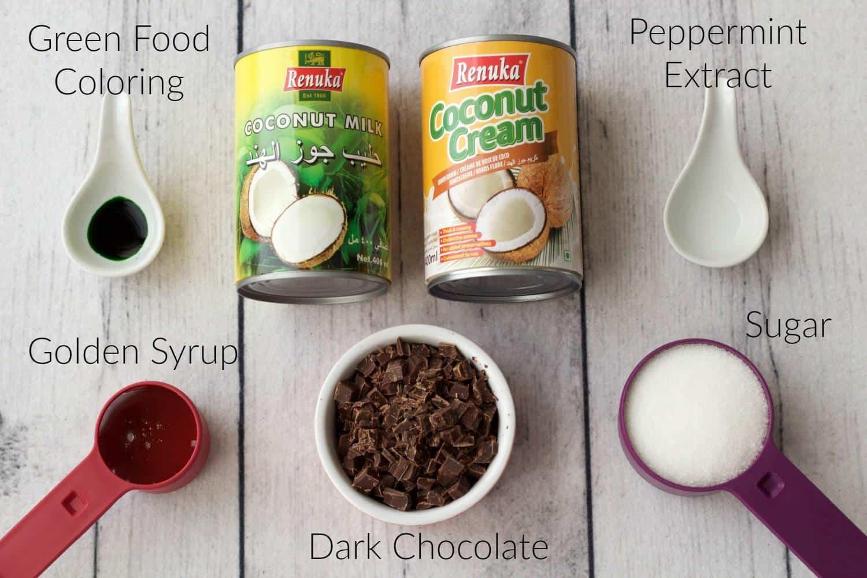 Ingredients list for Vegan Mint Chocolate Chip Ice Cream