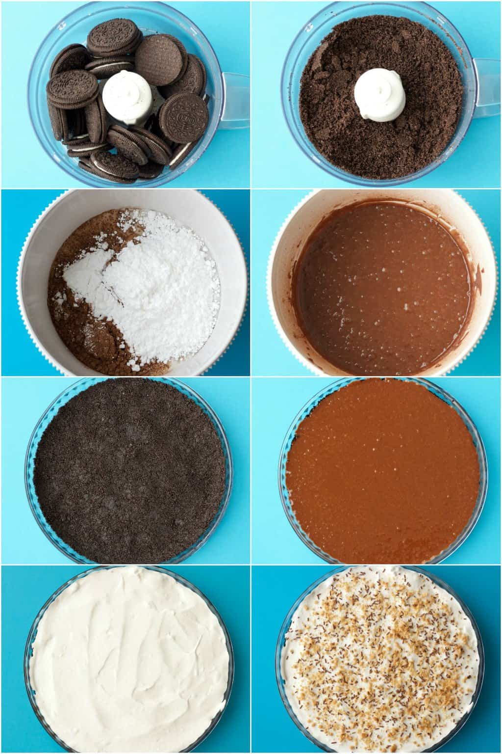 Step by step process photo collage of making a vegan oreo pie.