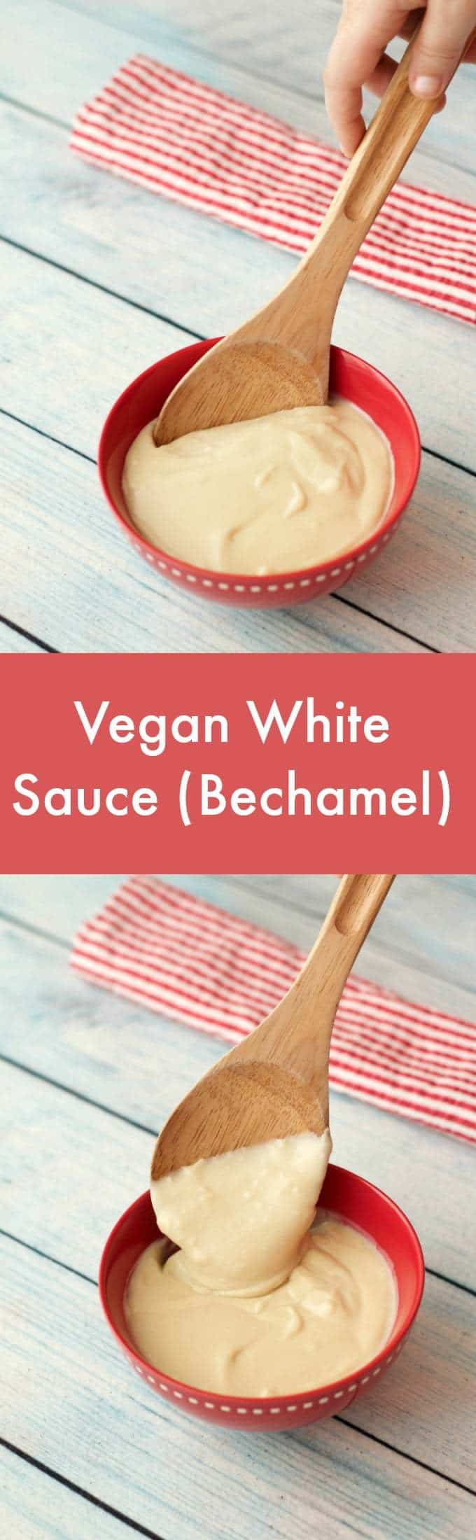 3-ingredient vegan white sauce recipe. Also called bechamel sauce, this simple sauce is creamy, wholesome and delicious and can be used whenever you need a white sauce. Vegan | Vegan White Sauce | Vegan Sauces | lovingitvegan.com