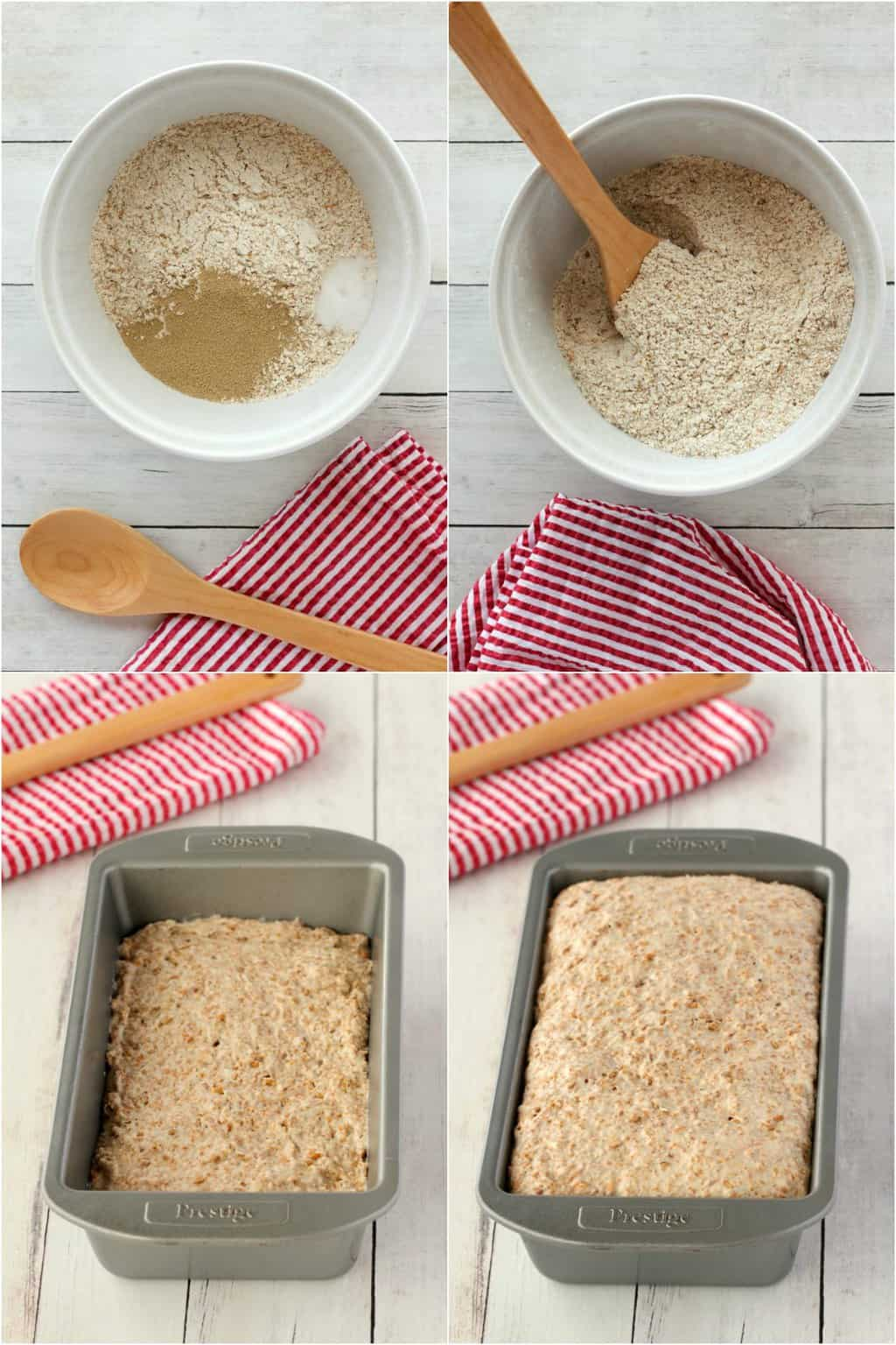 Step by step process photo collage of making whole wheat bread.