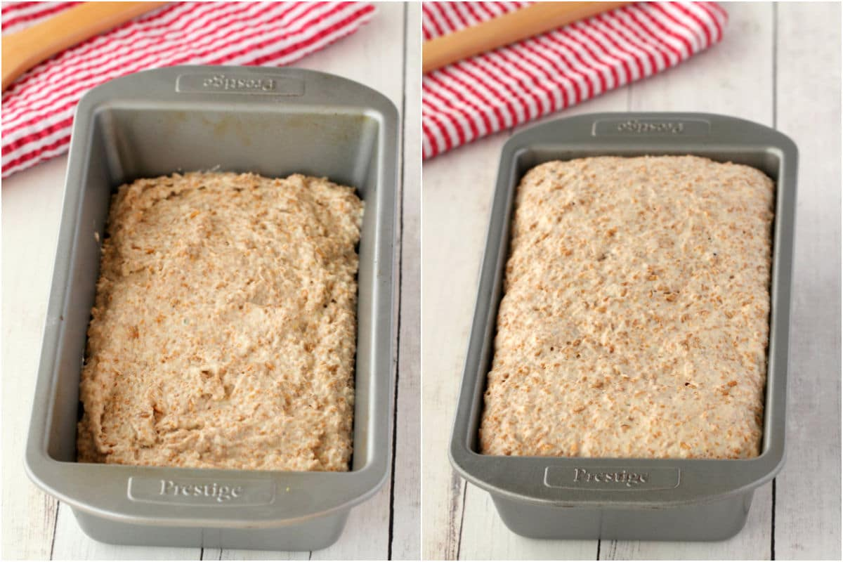 Two photo collage showing bread mix added to loaf pan and then risen and ready to bake.