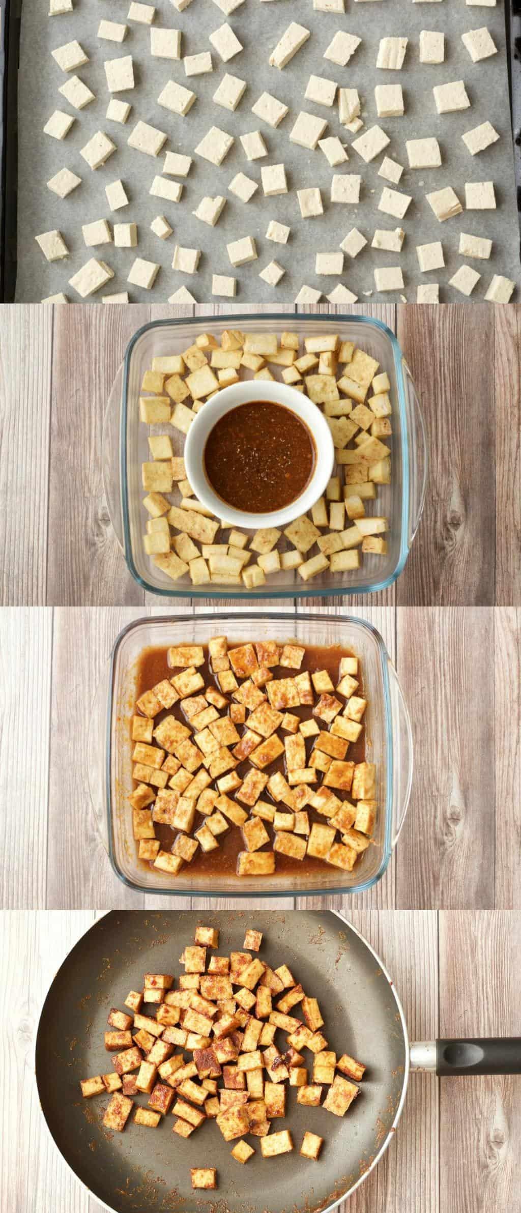 Making crispy baked tofu for our Green Curry Fried Rice #vegan #lovingitvegan