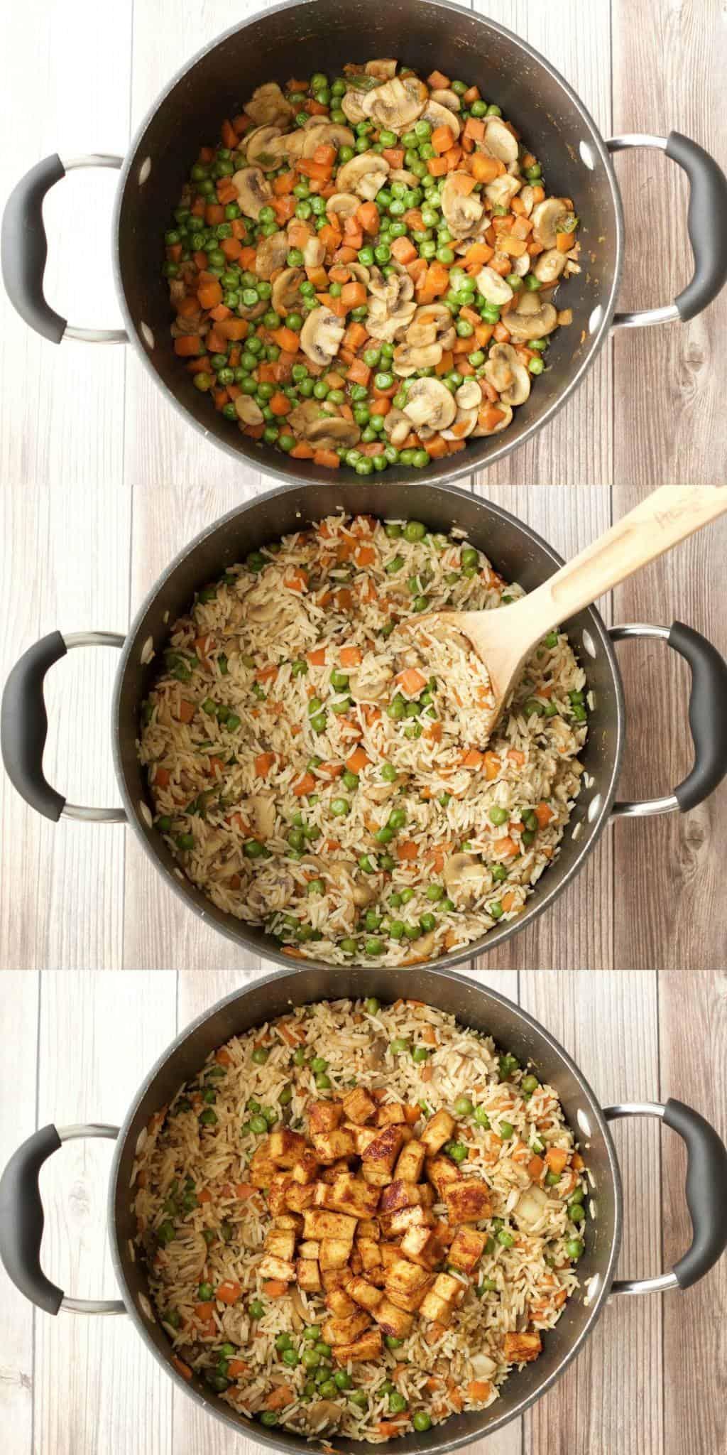 Making Green Curry Fried Rice with Crispy Baked Tofu #vegan #lovingitvegan