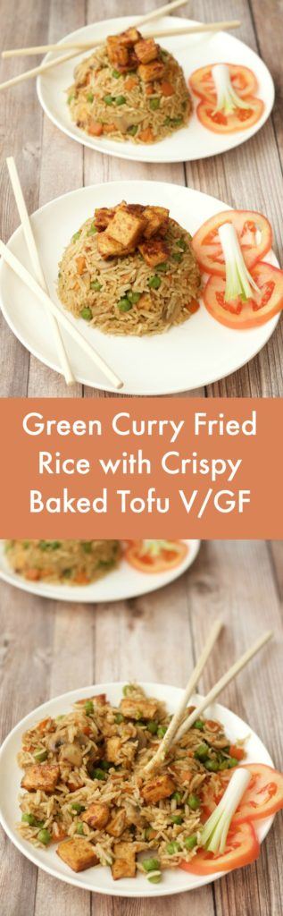 Green Curry Fried Rice with Crispy Baked Tofu