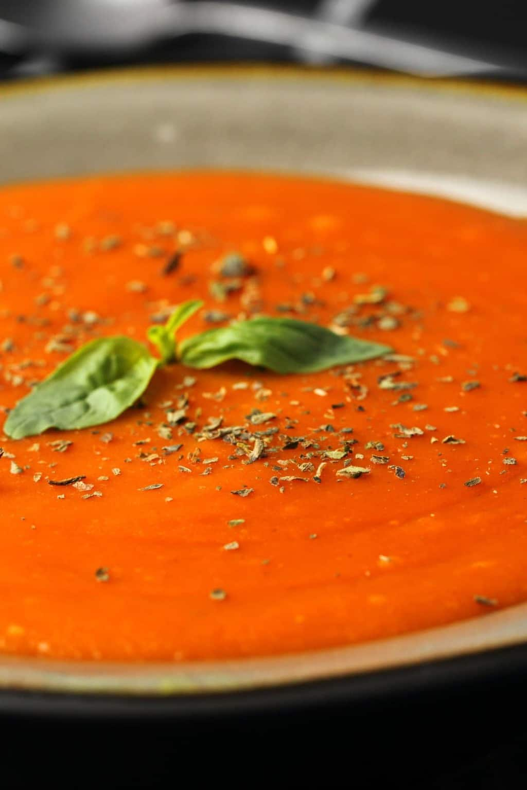 Vegan tomato soup topped with dried herbs and fresh basil in a grey stone bowl.