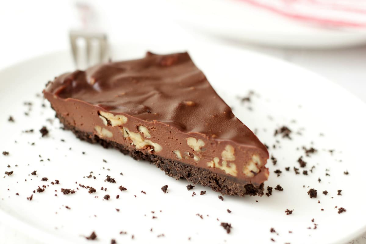 Vegan Chocolate Ganache Pecan Pie #vegan #lovingitvegan #dessert #chocolate #ganache #pecans #pie