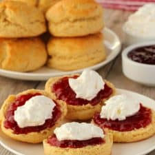 Vegan scones with jam and cream on a white plate.