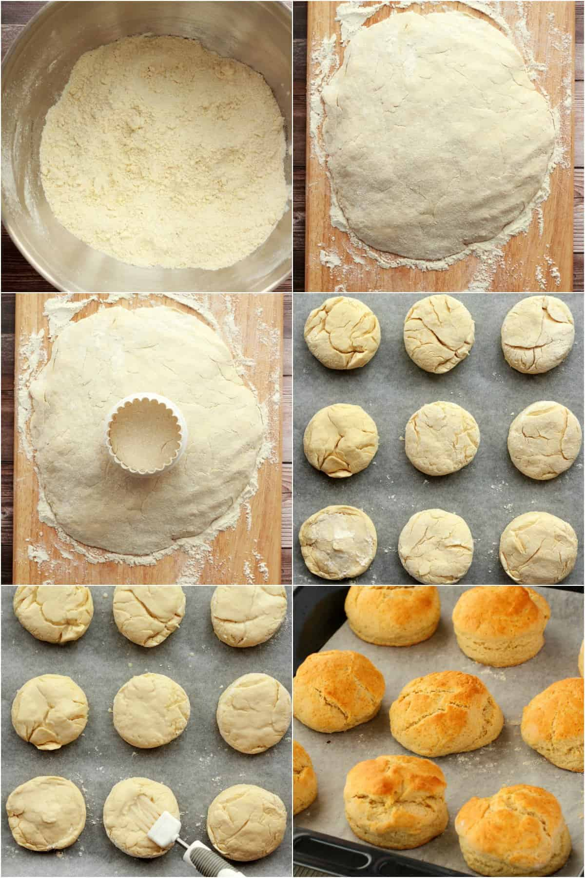 Step by step process photo collage of making vegan scones.