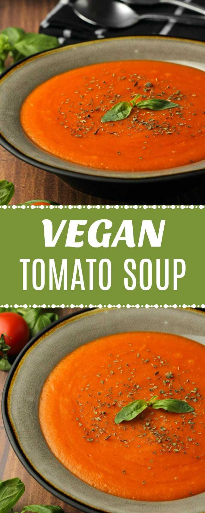 Rich and creamy vegan tomato soup. Hearty and satisfying and ideal as an appetizer, served with delicious bread for dipping. Gluten-free. | lovingitvegan.com