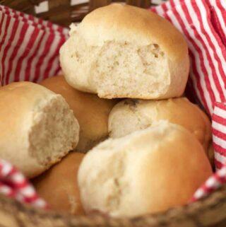 Vegan dinner rolls in a basket
