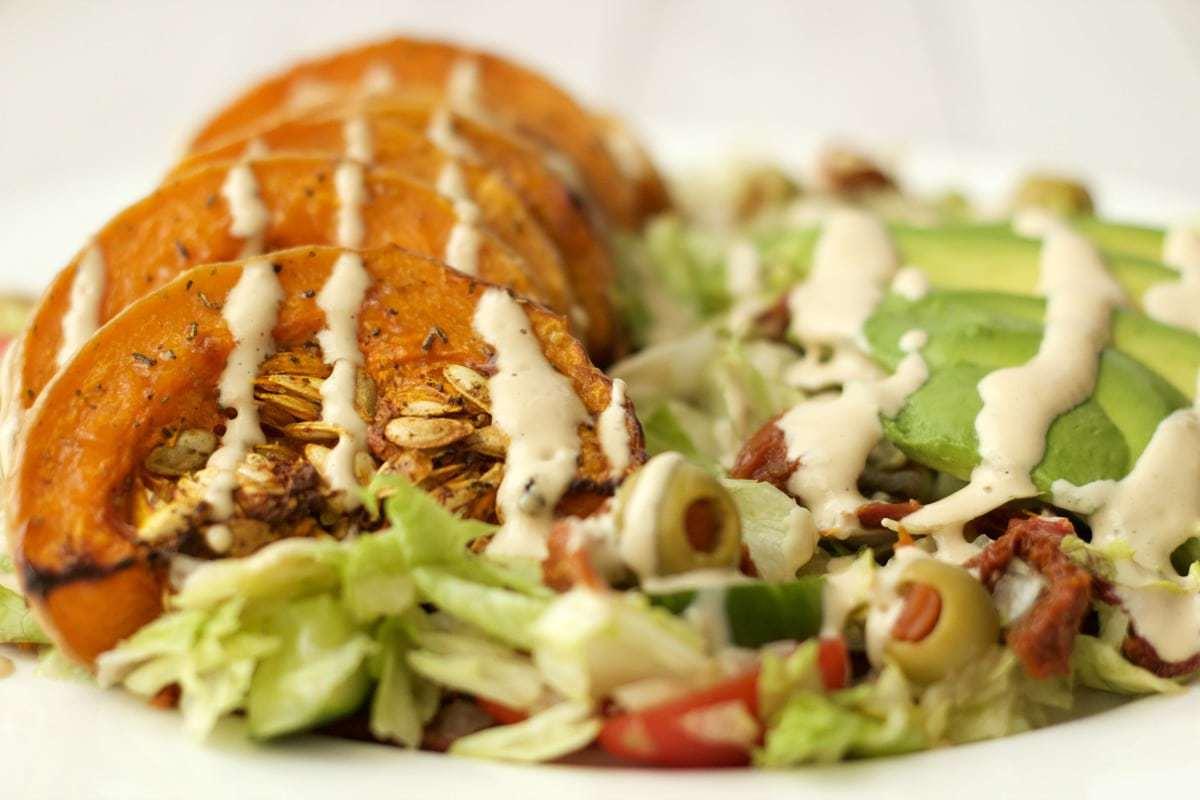 Roasted Butternut and Avocado Salad with Cashew Cream Dressing #vegan #lovingitvegan #dairyfree #glutenfree #entree #salad
