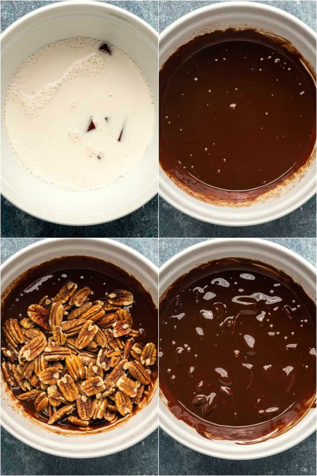 Step by step process photos to making a chocolate ganache filling for a vegan chocolate tart.