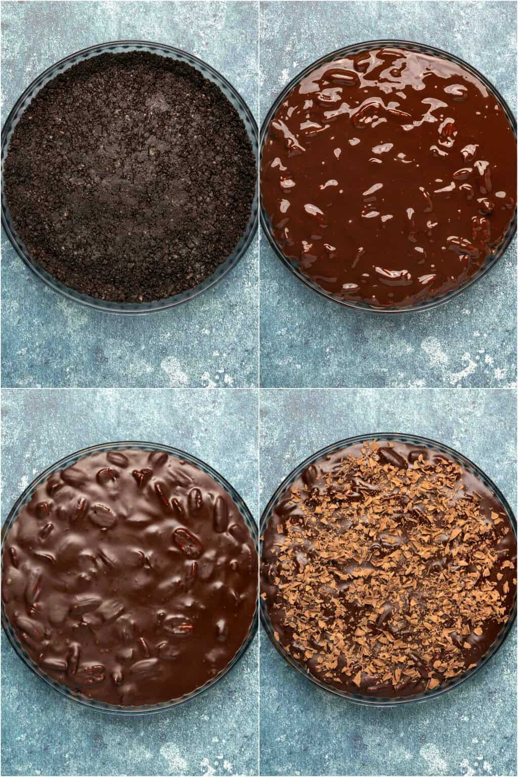 Step by step process photo collage of assembling a vegan chocolate tart.