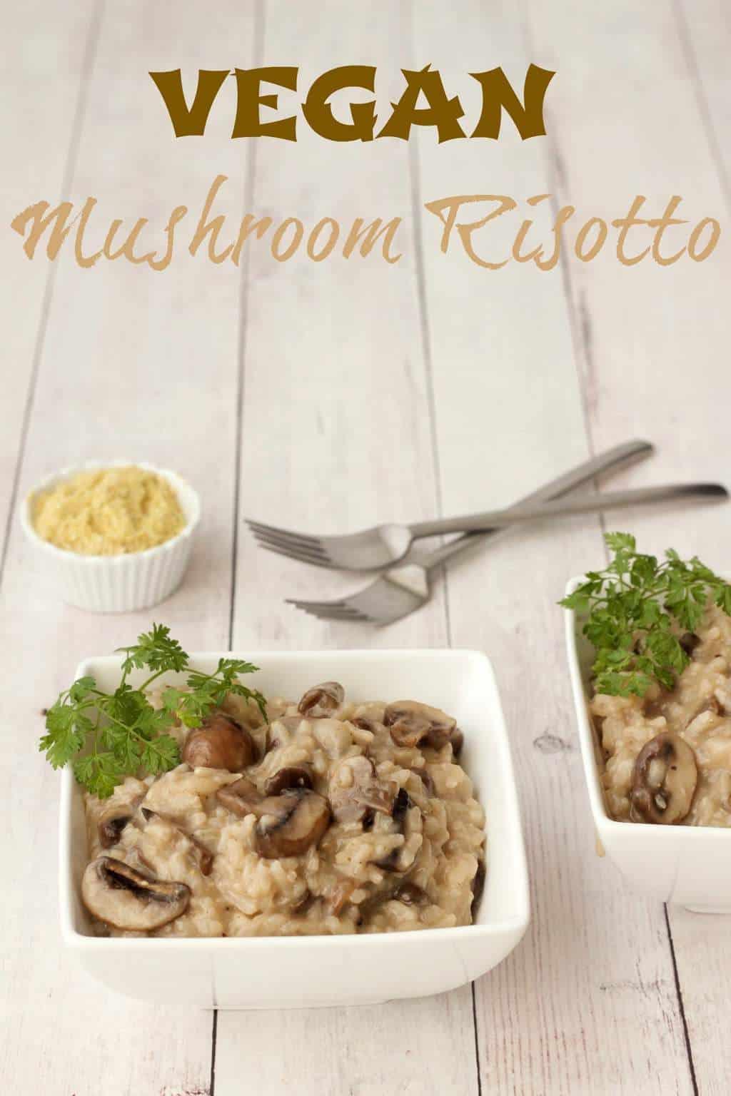 Vegan Mushroom Risotto #vegan #lovingitvegan #risotto #mushroom #glutenfree #dairyfree #entree