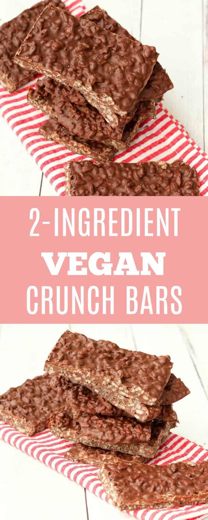 Simple vegan chocolate crunch bars. Just 2-ingredients and 15 minutes and you have the most delicious treat. Vegan and Gluten-Free. Vegan   Vegan Chocolate   Vegan Desserts   lovingitvegan.com